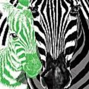 Savannah Greetings Zebra Cane Full Green Variant Art Print