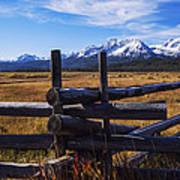 Sawtooth Mountains And Wooden Fence Art Print