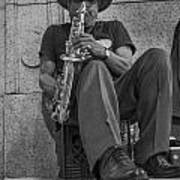 Sax Player In Chicago  Art Print
