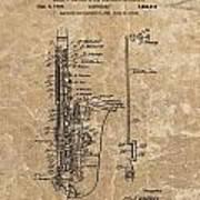 Saxophone Patent Design Illustration Art Print
