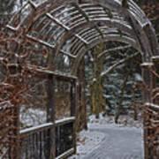 Garden Entrance During Winter Snow At Sayen Gardens Art Print