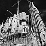 scaffolding and cranes above Sagrada Familia Barcelona Catalonia Spain Art Print