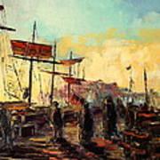 Scarborough Harbour Loading Art Print