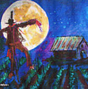 Scarecrow Dancing With The Moon Art Print