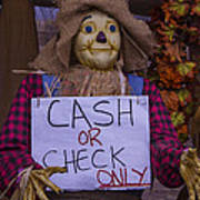 Scarecrow Holding Sign Art Print