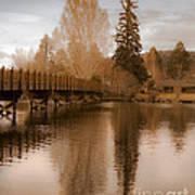 Scenic Golden Wooden Bridge Tree Reflection On The Deschutes River Art Print