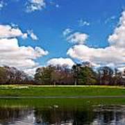 Scenic Park Lake In Spring Time Art Print
