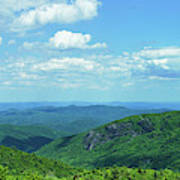 Scenic View Of Mountain Range, Blue Art Print