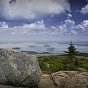 Scenic View With Boulder On Top Of Cadilac Mountain Art Print