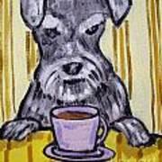 Schnauzer At The Coffee Shop Art Print by Jay  Schmetz