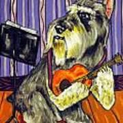 Schnauzer Playing Guitar Art Print by Jay  Schmetz
