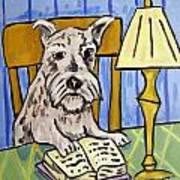 Schnauzer Reading A Book Art Print by Jay  Schmetz