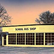 School Bus Repair Shop Art Print