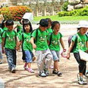 School Children In Gyeongju Korea Art Print