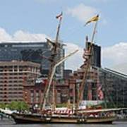 Schooner Arriving At Baltimore Inner Harbor Art Print