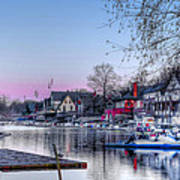 Schuylkill River And Boathouse Row Philadelphia Print by Bill Cannon