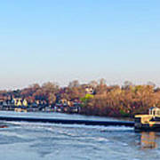Schuylkill River At Boathouse Row And  The Fairmount Waterworks Art Print by Bill Cannon