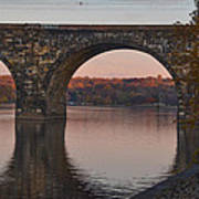 Schuylkill River Railroad Bridge In Autumn Art Print