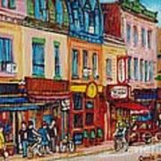 Schwartzs Deli And Warshaw Fruit Store Montreal Landmarks On St Lawrence Street  Art Print