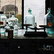 Science - Balance And Bottles In Chem Lab Art Print