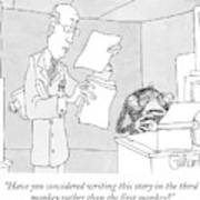 Scientist Talking To Monkey At Typewriter Art Print