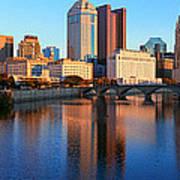 Scioto River And Columbus Ohio Skyline Art Print
