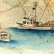 Scooter Fishing Boat Nautical Chart Map Art Art Print