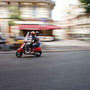 Scooter In Paris Art Print