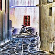 Scooter Mykonos Greece Art Print