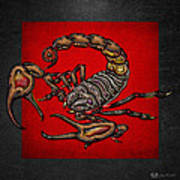 Scorpion On Red And Black Leather Art Print