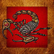 Scorpion On Red And Brown Leather Art Print