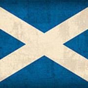 Scotland Flag Vintage Distressed Finish Art Print by Design Turnpike