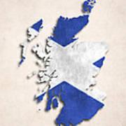 Scotland Map Art With Flag Design Art Print
