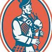 Scotsman Scottish Bagpipes Retro Art Print