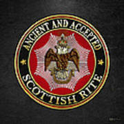 Scottish Rite Double-headed Eagle On Black Leather Art Print