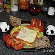 Scrambled Eggs Salami And Cheese For Breakfast. Travelling Baby Pandas Series. Art Print