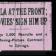 Screen Capture  Newspaper Article  Mutual Film Corporation's  The Life Of General Villa 1914-2013 Art Print