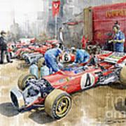Scuderia Ferrari Paddock Spanish Gp 1971 Ferrari 312b2  Art Print by Yuriy Shevchuk