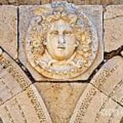 Sculpted Medusa Head At The Forum Of Severus At Leptis Magna In Libya Art Print