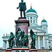 Sculpture Of Alexander II In Cathedral Of Helsinki-finland Art Print