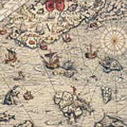 Sea Map By Olaus Magnus Art Print