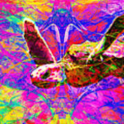 Sea Turtle In Abstract V3 Art Print