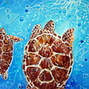 Sea Turtles Swimming Towards The Light Together Art Print