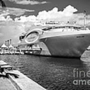 Seafair Art Venue Yacht Moored In Miami - Black And White Print by Ian Monk