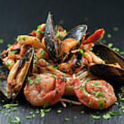Seafood Pasta Art Print