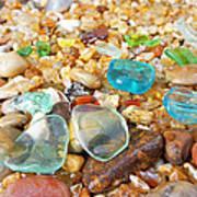 Seaglass Coastal Beach Rock Garden Agates Art Print