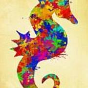 Seahorse Watercolor Art Art Print