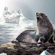 Harp Seal And Native Hunters Art Print