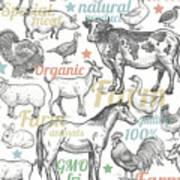 Seamless Pattern With Livestock Art Print