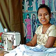Seamstress At Her Sewing Machine In Tachilek-burma Art Print